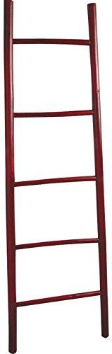 Echelle porte-serviettes en bambou teinté rouge 150cm