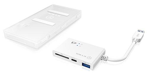 Netzwerk-adapter Retail-box (ICY BOX IB-DK404 USB 3.0 Mini-Dockingstation, Adapter für 2,5 Zoll SATA HDD/SSD mit Schutzbox, 2X USB-Hub (Type-A/Type-C), SD-Kartenleser, EIN-/Aus)