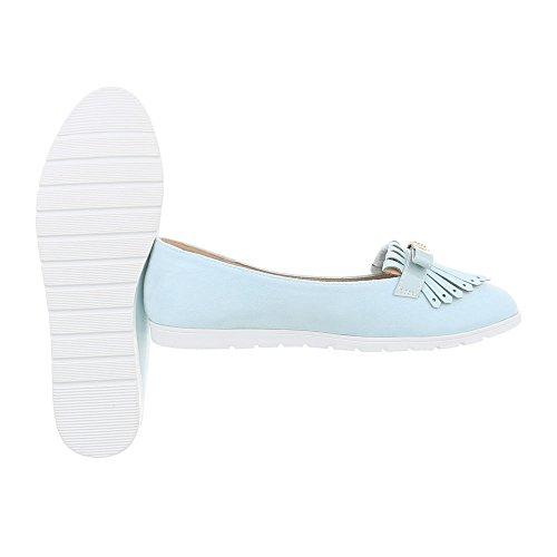 Ital-Design Slipper Damenschuhe Slipper Slipper Halbschuhe Hellblau T261