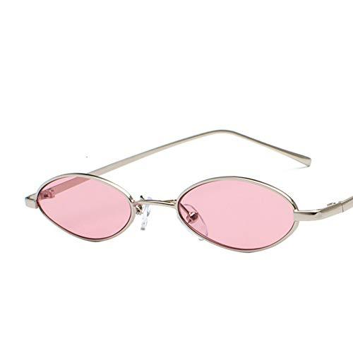 TIANKON Kleine ovale Sonnenbrille für Männer Retro Metall gelb rot Rahmen Vintage Brille kleine runde Brille Sonnenbrille für Frauen Geschenk,Silber Pink