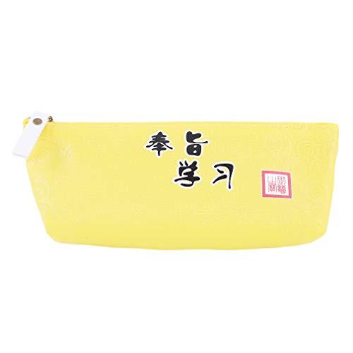 SUNSKYOO Niedliches Federmäppchen Federmäppchen Schreibwaren Organizer Hohe Kapazität Multifunktionale Kosmetik Make-up Tasche Perfekt Halter für Bleistifte und Stifte 17.5 * 3.5 * 7.5cm gelb