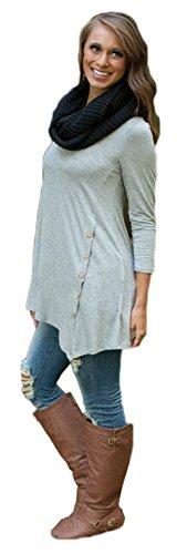 Damen Sexy Rundhalsausschnitt Langarm Unregelmäßige dünnes Hemd Tpp T-Shirt Bluse Grau