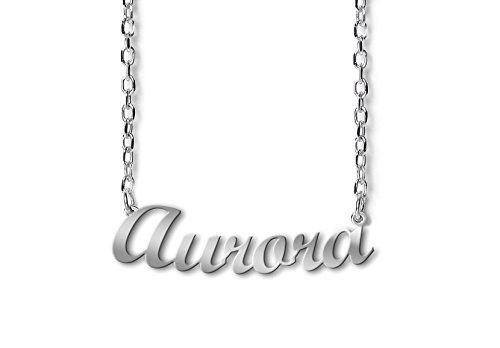 G03 Collana con nome Aurora in argento 925 rodiato anallergico. Made in Italy. - Aurora Collana