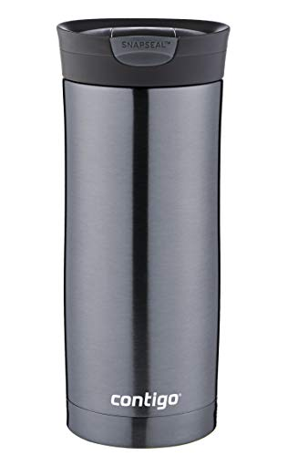 Contigo Thermobecher Huron Snapseal, Edelstahl Isolierbecher, Kaffebecher to go, auslaufsicher, spülmaschinenfester Deckel BPA-frei, 470 ml