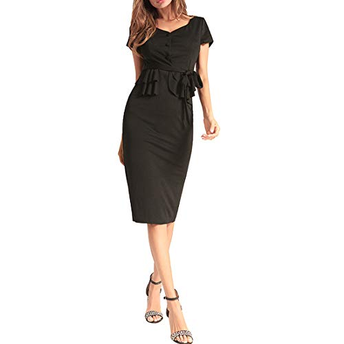 Bademode Damen Kleid Free Straps Kurzarm Solid Color Slim Hip Step Rock Frühling Kleid Bikinis (Farbe : Schwarz, Size : S) -
