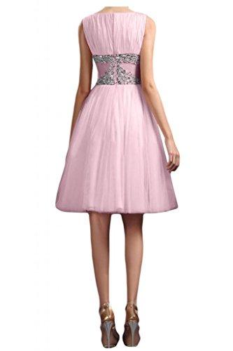 Colletto rotondo avalaya TOSKANA sposa la sera vestimento breve lunghezza al ginocchio tulle damigella Cocktail Party vestimento Rosa