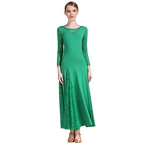 angärmliges Modernes Tanzkleid , Square Dance Kostüm Ballroom Dance Großer Rock Für Den Wettbewerb (Farbe : Green, größe : M) ()
