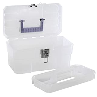 Akro-Mils 09514 CFT 14-Inch Plastic Art Supply Craft Storage Tool Box, Semi-Clear