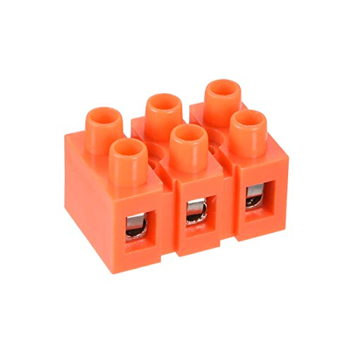sourcing map 6stk Terminal Block, 600V 36A Doppel Reihe 3 Positions Schraube Terminal Terminal Block, 3-position