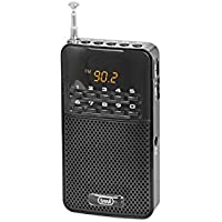 Trevi DR730M Rechargeable Portable FM Radio with In-Built Speaker and Headphone Socket - Black