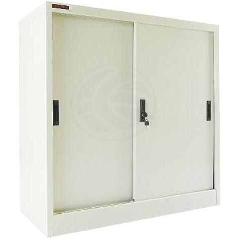 Cablematic - Armario archivador de oficina metálico con puertas correderas 900x900x400 mm de