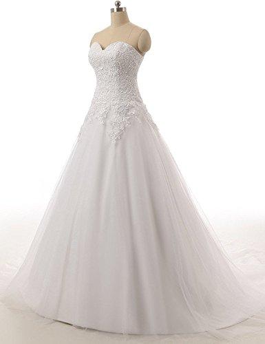 JAEDEN Donne Senza spalline Tulle Abiti da sposa Lungo Vestito da cerimonia Bianco