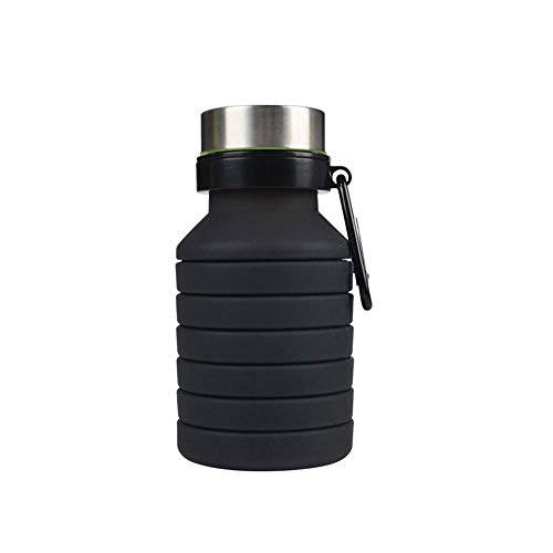 Aolvo Faltbare Wasserflasche, 550 ml, BPA-Freies Silikon, einziehbarer Becher, tragbar, Reisen, Camping, Wandern, Outdoor, 450 ml, Schwarz