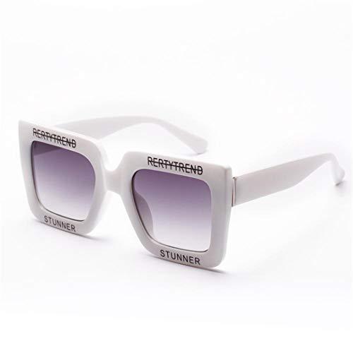 DAIYSNAFDN Große glänzende Sonnenbrillen für Frauen Brief Square Frame Sonnenbrille Mode Shades 4