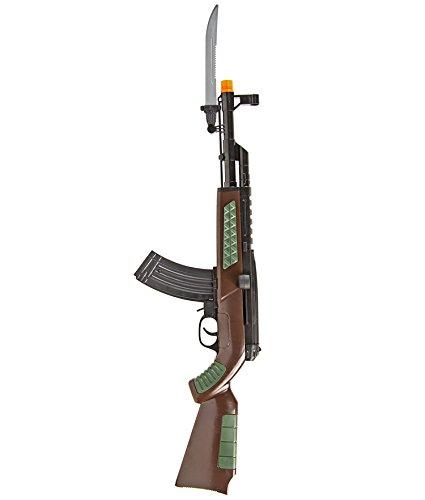 Air-Soft Gewehr 55cm mit Bajonett Pistole Messer Munition Magazin 6mm Kugeln >0.08 Joule Kinder-Kostüm Soldat SWAT-47 Army Feder-Zug Verkleidung Karneval (Airsoft-gewehr-pistole Feder)