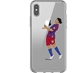 Desconocido Funda iPhone XR, Futbolista Ronaldinho Barcelona Barça TPU Gel, Carcasa iPhone XR