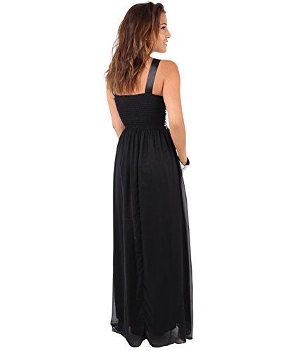 KRISP® Femmes Robes de Soirée Maxi Longue Elégantes en Mousseline Différents Modèles Noir/Blanc (4022)