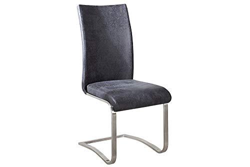 Riess Ambiente Premium Freischwinger Stuhl ARCO Original MCA antik Look grau mit gebürstetem Edelstahlrahmen und bestem Sitzkomfort
