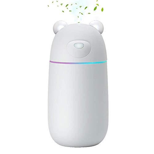 MANLI Umidificatore Ambiente Ultrasuoni 300ml con Luce LED Connessione USB per Casa Ufficio Auto Camera da Letto Viaggio Bambini Neonato Adulti - Bianco