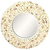 Deco 79 47319 Round Wood And Shell Wall Mirror, White/Multi-Colored