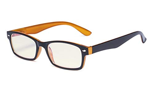 Eyekepper Computer-Lesebrille mit Federscharniere Bügle in UV-Schutz, Anti-Blau-Strahlen Blendschutz und kratzfest Gläser (Gelb getönte Gläser, in Schwarz-Gelb Fassung) +4.00