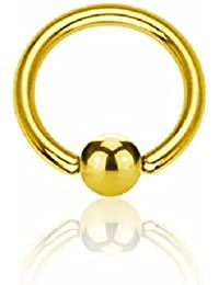 Gold Steel - BCR Klemmring (Piercing Ball Closure Ring für u.a. Brustwarzen-, Nasen-, Septum- und Ohrpiercings gold)