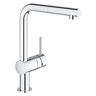 GROHE Minta single-lever kitchen tap with pull out spray head, high spout sink mixer, 360° swivel spout, easy to clean, easy installation, chrome, 32168000
