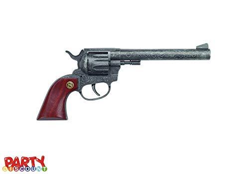 Jungs Für Kostüm Steampunk - Unbekannt Party Discount ® Cowboy-Colt Buntline-Holzgriff, 12-Schuss-Pistole