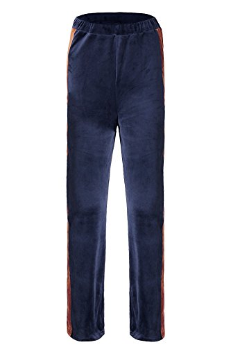 YACUN Le Donne Ampia Gamba Pantaloni Color Block Casual Culotte Pantaloni Darkblue