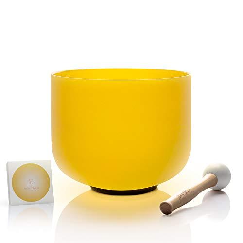 TOPFUND singen schalen 432Hz E note kristall klangschalen solar plexus chakra gelbe 8 zoll (o - ring und hammer enthalten)