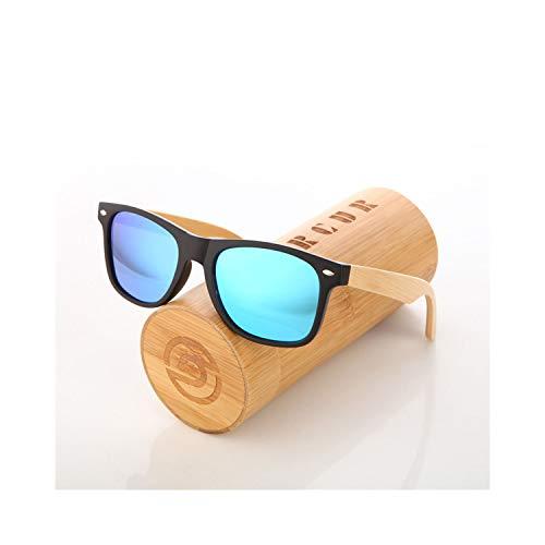 Sport-Sonnenbrillen, Vintage Sonnenbrillen, Wood Sunglasses Spring Hinge Handmade Bamboo Sunglasses Men Wooden Sun Glasses Women Polarisiert Oculos De Sol Masculino Sky Blue Polarisiert