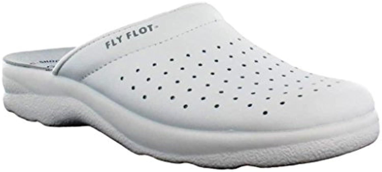 Fly Flot Zapatillas de estar por casa de Piel para hombre Blanco Bianco 44