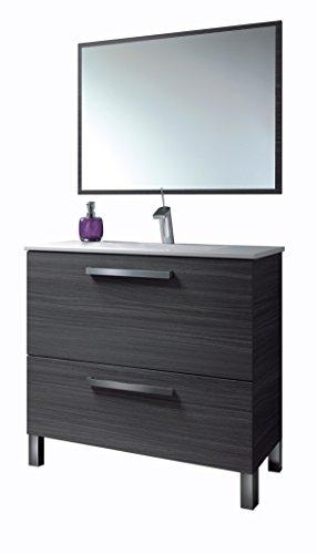 13casa - atena c3 - set mobile bagno + specchio. dim: 80x45x80 h cm. col: grigio. mat: melamina, specchio.
