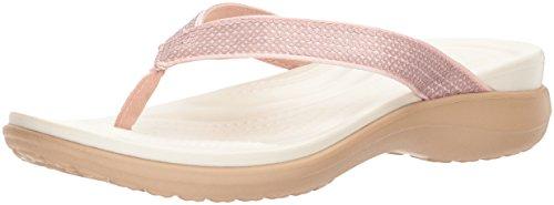 crocs Capri V Sequin Flip, Damen Zehentrenner, Pink (Rose Gold), 39/40 EU (Comfort Capris)