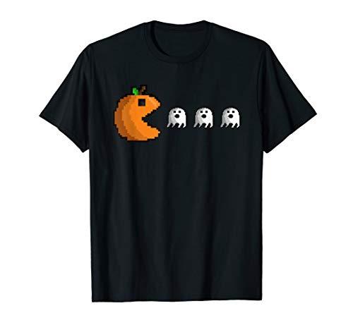 Pixel Pumpkin Eating Ghosts Cute Gamer Halloween T-Shirt (Adventure World Halloween-party 2019)