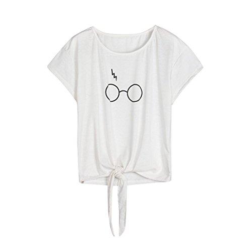 UFACE Damen Brille Mit Kurzen äRmeln Rundhals Top Frauen Kurzarm GläSer Drucken O Neck Tops Bluse T Shirt (S, Weiß)