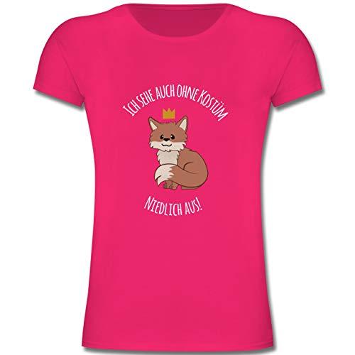 Karneval & Fasching Kinder - Ich Sehe auch ohne Kostüm niedlich aus Fuchs - 140 (9-11 Jahre) - Fuchsia - F131K - Mädchen Kinder T-Shirt (Süsse Fuchs Kostüm Kind)