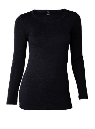DILLING Langarmshirt für Damen aus 100% BIO-Merinowolle Schwarz 44