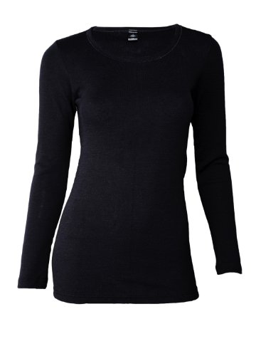 Dilling Merino Langarmshirt für Damen - Extra Feine Unterwäsche aus 100{47e79ffc54bc07630e78338e462a44425b9b92af9d982d9b8e13b4680e39e6aa} Bio Merinowolle Schwarz 40