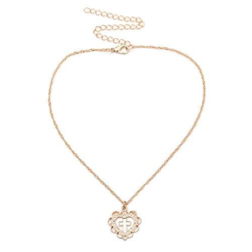 Domybest Kreative Damen Herz Kreuz Geometrische Hohle Anhänger Halskette Schlüsselbein Kette