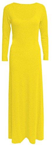 Damen Langarmshirt Übergröße Maxi Kleid Maxi, tailliert, Stretch, Jersey, Übergröße, erhältlich in Gr. 42-52 Mehrfarbig - Gelb
