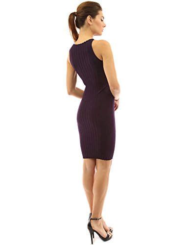 PattyBoutik femmes robe à col rond manches côtelé violet foncé