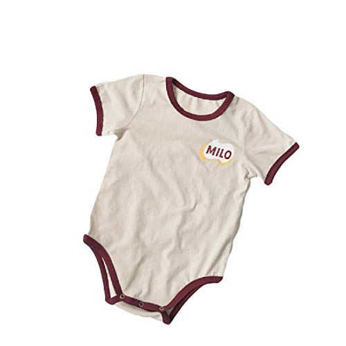 CuteRose Unisex Baby Short-Sleeve Summer Fine Cotton Overalls Rompers Bodysuit Apricot 73