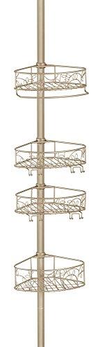 InterDesign Twigz Teleskop Duschregal | mit Handtuchhalter und Haken | hochwertige Duschablage ohne Bohren | vierfacher Duschkorb für mehr Stauraum | Metall champagnerfarben lackiert