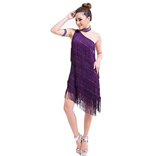 Frauen tanzen Kleid Frauen Quaste Latin Dance Kleid Outfit eine Schulter Tango Rumba Ballsaal Dancewear Perlen Fringe Flapper Kleid Adult Performance Wettbewerb Kostüme Tanz Cocktailkleid (Tanz Kostüm Für Den Wettbewerb Zum Verkauf)