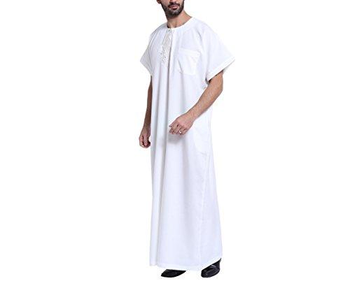 Männer Kostüm Muslim - muslimische Männer Roben Saudi Arabien Kostüm Casual Männlichen Kaftan Kleidung,Weiß,XXXL