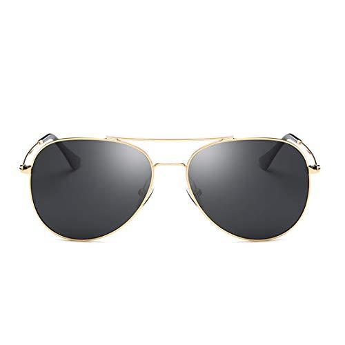 Honneury Polarisierte Sonnenbrille Runde Retro Steampunk Sonnenbrille für Männer (Farbe : Gold Frame/Black Lens)