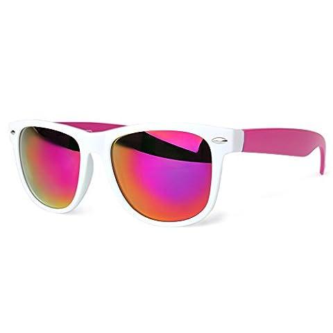 Distressed Blues Matt matte Sonnenbrille im Retro Wayfarer Stil 80er (weiss-pink-rahmen-verspiegelt)