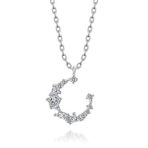 CQ Silber Stern Mond Halskette Schlüsselbein Kette Damen Mädchen einfach Kreative...