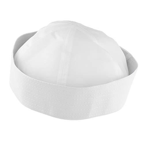 P Prettyia Sombrero de Marinero Gorro Boina Beanie Hat Blanco Accesorios de Dsifraces para Fiesta Halloween - Adulto